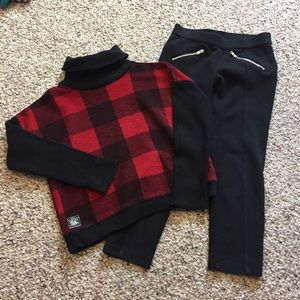 Ralph Lauren plaid sweater & Gymboree leggings